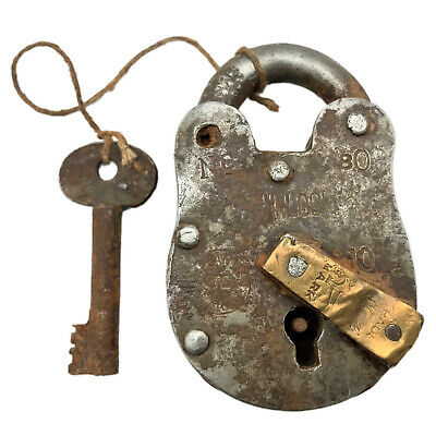 Vintage Padlock & Skeleton Key Working Old Iron & Brass Antique Bank Lock PL62