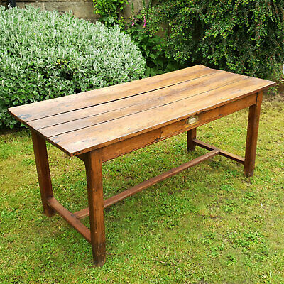 C19th French Cherrywood Country Kitchen Refectory Dining Table with Drawer