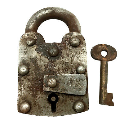 Vintage Padlock & Skeleton Key Working Old Iron Rusty Antique Prison Lock PL64