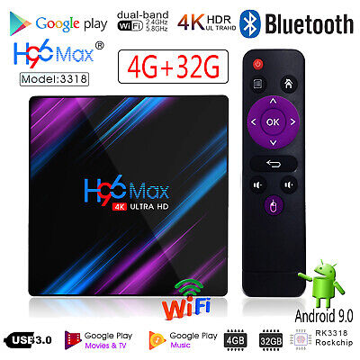 H96 Max 3318 Smart TV Box 4G+32G Android9.0 WiFi Quad Core 1080p 4K Media Player