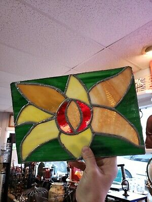 Leaded Handmade Flower Stained Glass Pane Panel Pair Set Antique Vintage retro