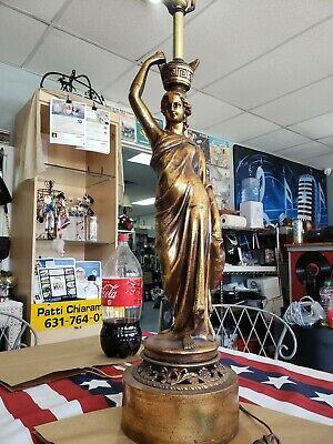 Vintage Art Nouveau cast metal brass, bronze finish woman lamp ornate base works
