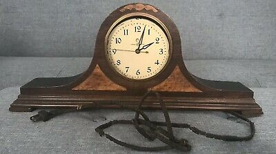 "VINTAGE 18"" MANTLE CLOCK,  General Electric, Brown Mahogany Wood, Untested"