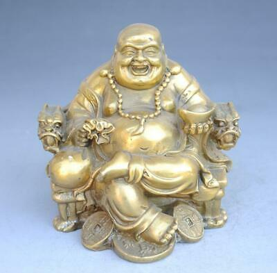 Chinese old Copper carved Happy Laughing Maitreya Sit Dragon Chair Statue e01