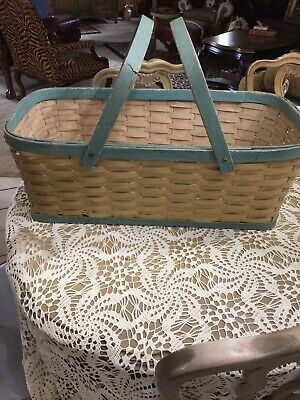 Large Antique Primitive Split Oak Weave Basket With Two Handles