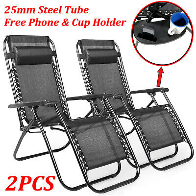 2X Zero Gravity Reclining Sun Lounger Textoline Outdoor Folding Chair Adjustable