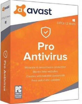 Brand New Avast Pro Antivirus 3 PCs 2 years (FAST DOWNLOAD KEY)  - windows