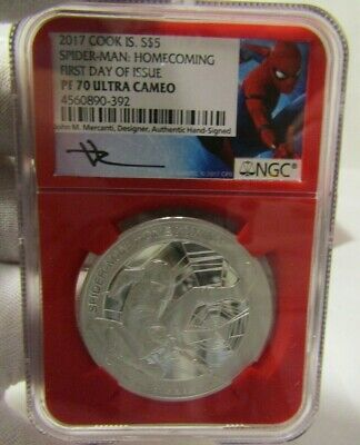 2017 5 oz. Silver Proof SPIDERMAN Homecoming PF70 Stan Lee autographed card NGC