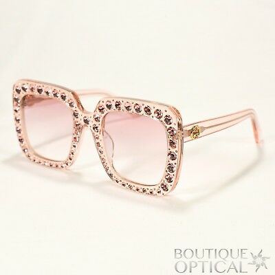 c1e9f19517b7 Gucci Square Womens Sunglasses Pink w Crystals & Pink Gradient Lens GG0148S