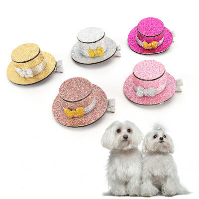 Pet Dog Cat Puppy Lovely Hairpin Sequin Top Hat Hair Clip Grooming AccessoryATA
