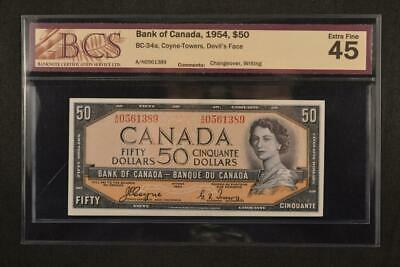 1954 Bank of Canada $50 Dollar Devils Face Coyne Towers BCS Graded Extra Fine