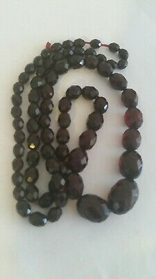 Beautiful Long Cherry Amber Bakelite Beads Necklace 72cm Long Highly Collectable