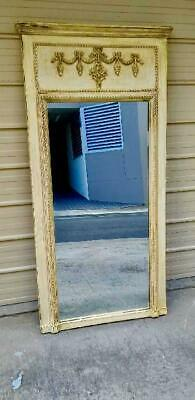 ANTIQUE LARGE FRENCH COUNTRY STYLE  CARVED TRUMEAU PIER MIRROR  160 X 80 cm