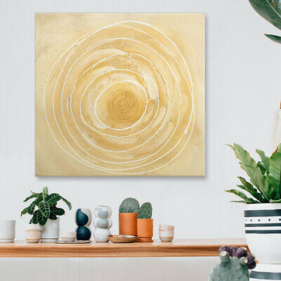 Framed Modern Abstract Oil Painting On Canvas Wall Art Decor Hand Paint Circles