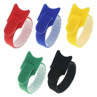 50Pcs Cable Tidy Tie Hook & Loop Straps Wire Organiser PC Reusable Adjustable UK