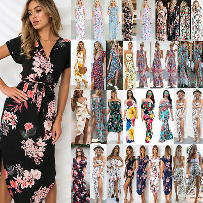 afadc0cfe US Womens Summer Floral Print Maxi Dress Party Beach Dress Floral Dress  Sundress
