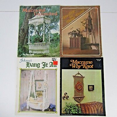 Lot of 4 Vintage Macrame Patterns Booklets 1976 Plant Hangers Wall Hangings