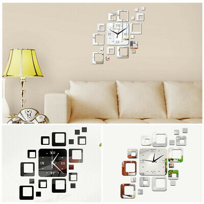 DIY Square Border Mirror Clock Wall Sticker Art Design 3D Decal Roman Numerals