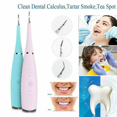 Electric Sonic Dental Scaler Tartar Calculus Plaque Remover Tooth Stains To M2B9