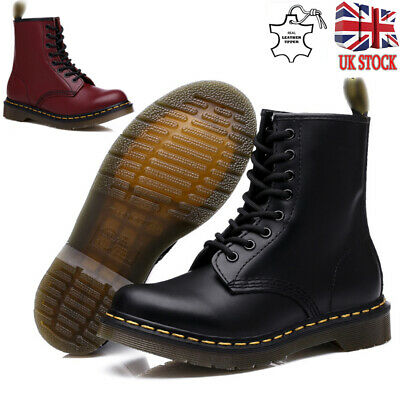 UK Womens Mens Genuine Leather Classic Martin Ankle Combat Boots Shoes Size 2-11