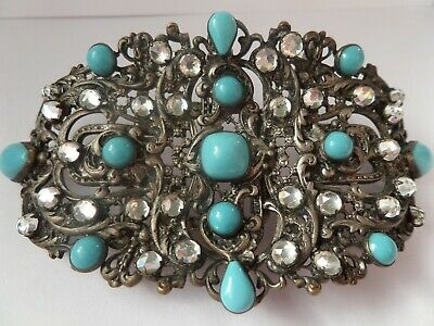 Large Antique, Clear & Turquoise Paste, Piel Freres Buckle - Signed - Victorian.