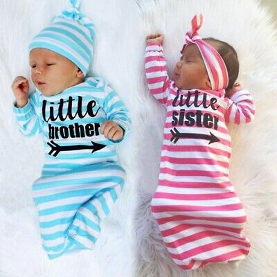 2019 Newborn Baby Sister Brothers Lovely Soft Sleepwear Kids Gown Outfit Set