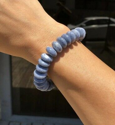Rare Natural Blue Undyed Sponge Coral CHINESE 15mm Disc Beads Bracelet 48.0grams