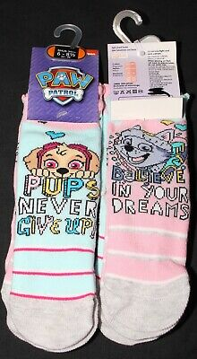 2 x Pairs of Girl's PAW PATROL Lined Socks - U.K. Shoe Sizes 3-12 (1-7 Years)