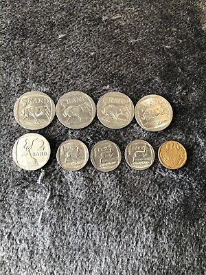 South Africa, 1, 2 & 5 Rand Coins, as shown.