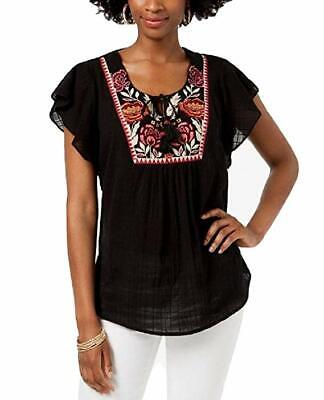 Style & Co Blouse Embroidered Butterfly-Sleeve Top Traveler Black Womens Sz M L