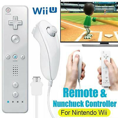 Remote Wiimote + Nunchuck Controller Set Combo for Nintendo Classic Wii U Games