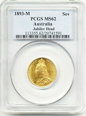 1893 M Melbourne Queen Victoria St.george Back Full Gold Sovereign Coin  Ms62