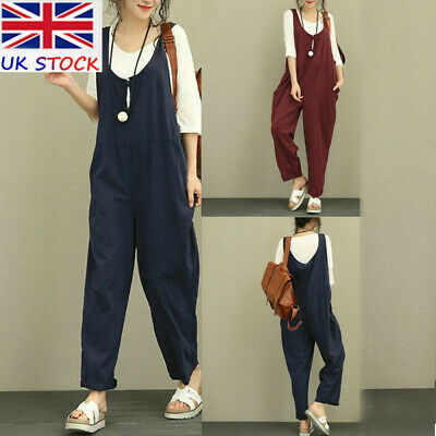 UK Womens Baggy Dungarees Playsuit Oversized Ladies Jumpsuit Trousers Pants Tank