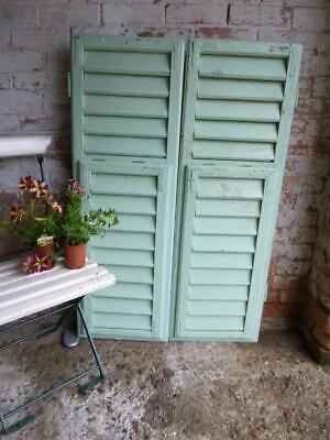 VINTAGE WOODEN SHUTTERS WINDOW SHABBY ANTIQUE FRENCH 120x80cm   FREE post