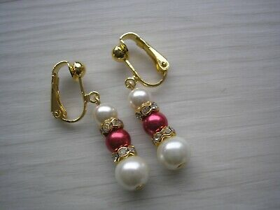 Clip-on Earrings Non-pierced Pearls Diamantes Drop Silver Gold or Rose Gold 2DR
