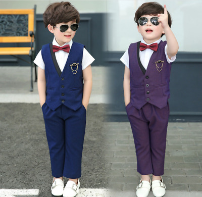 Kids Baby Boys Wedding Party Gentleman Clothing Vest Pants Costume Formal Dress