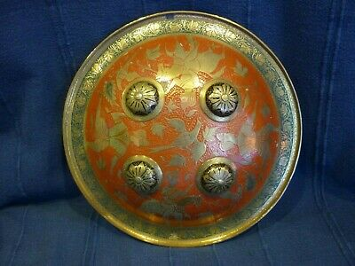 Antique Persian Decorated Enameled Brass Shield