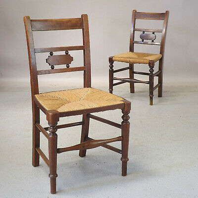 Pair of East Anglian Kitchen Chairs (delivery £40 ) Rush Seat - Oak - Ash