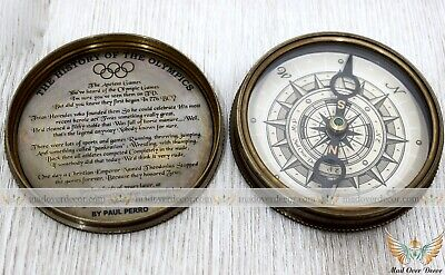 Brass Antique Style Berlin 1936 The History Of Olympics Paul Perro Poem Compass
