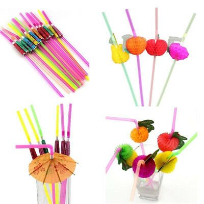 New 20/40X Paper Parasol Umbrella Fruit Tea Cocktail Drink Straws Party Decor OD