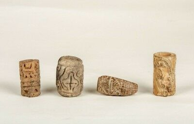 4 pieces of Pre-Columbian Tumaco/Calima Carved Roller Stamps and Seals 300 A.D.