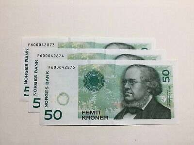 Norway 3x 50.Kroner banknote consecutive Numbers, About EF