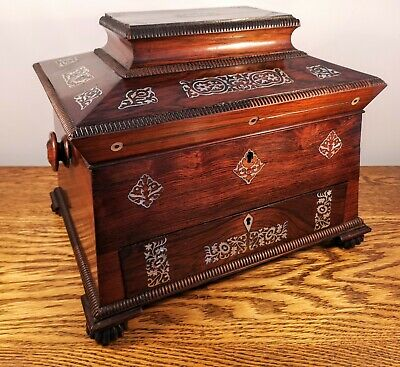 FINE VICTORIAN LADIES ROSEWOOD & MOTHER OF PEARL INLAID WORKBOX c1845