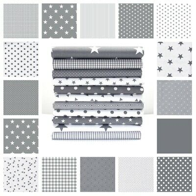 Grey Stripe Gingham Dots Stars 100% Cotton Fabric Nursery Patchwork