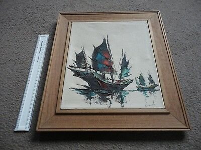 "Original  Vintage Signed And Framed Oil On Canvas Of Two Sailing Boats By ""Earl"""