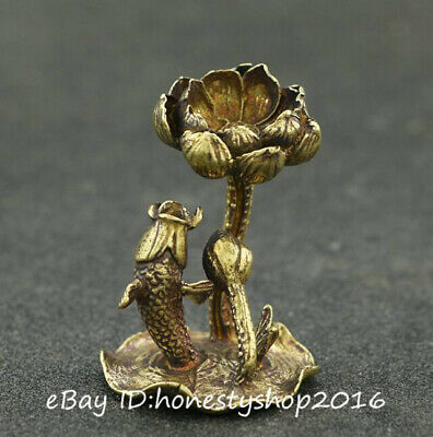 Chinese Bronze Copper Hand Carved Fengshui Lotus Flowert Fish Goldfish Statue