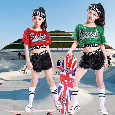 Girls Street Dancewear Sequins Costume Jazz Hip-Hop Kid Dance Performance Party
