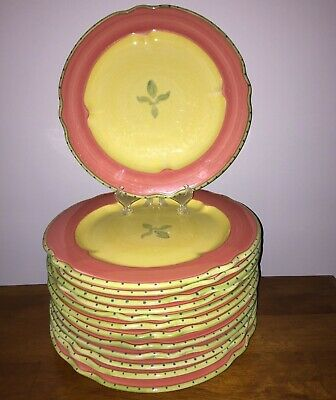 """Pfaltzgraff PISTOULET One Yellow Red Trim Dinner Plates 11"""" 13 available"""