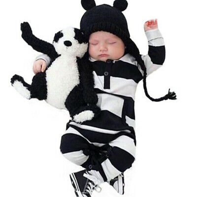 New baby boys girls newborn striped romper outfit bodysuit jumpsuit clothesFBB