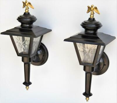 Pair Antique Carriage Colonial Large Cast Porch Outdoor 2 foot plu Light Fixture